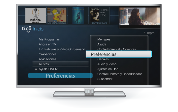idioma decodificador gateway tigo one tv