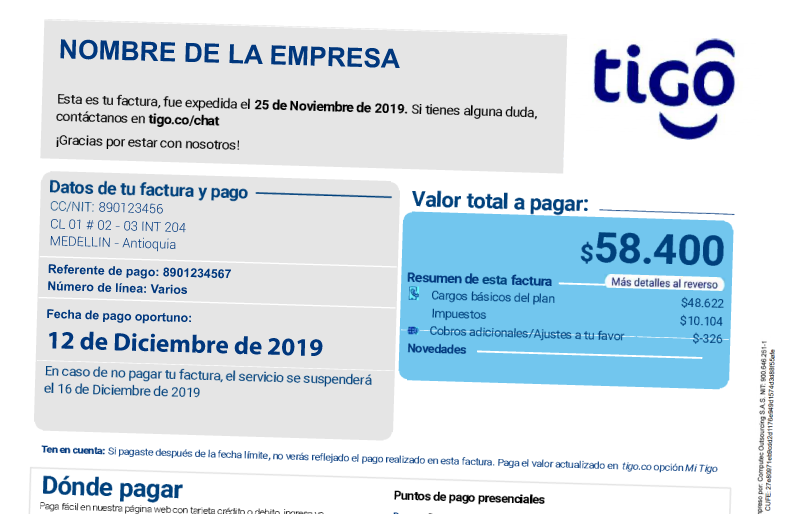 Factura Tigo Business